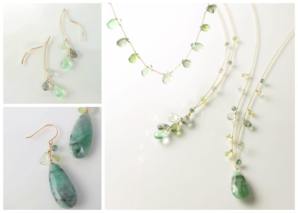 グリーングラデーションが美しいネックレス、ピアスのコレクション