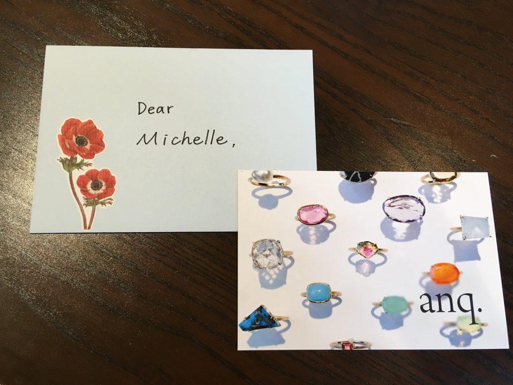 ロンドンのヴィクトリア・アンド・アルバートのミシェルさんに送るお手紙